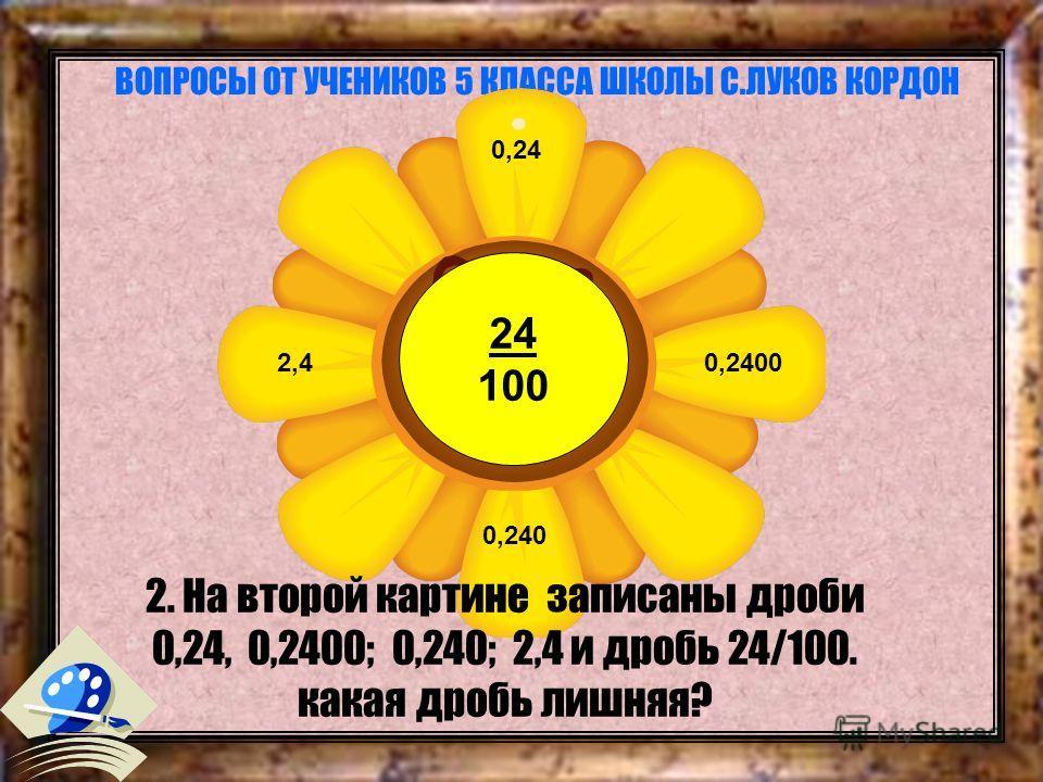 ВОПРОСЫ ОТ УЧЕНИКОВ 5 КЛАССА ШКОЛЫ С.ЛУКОВ КОРДОН 2. На второй картине записаны дроби 0,24, 0,2400; 0,240; 2,4 и дробь 24/100. какая дробь лишняя? 24 100 0,24 0,2400 0,240 2,4