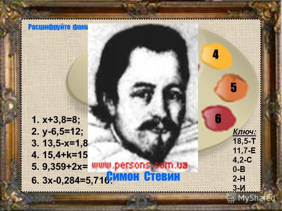 1. x+3,8=8; 2. y-6,5=12; 3. 13,5-x=1,8; 4. 15,4+k=15,4; 5. 9,359+2x=15,359; 6. 3x-0,284=5,716. 1 2 3 4 5 6 Расшифруйте фамилию художника. Симон Стевин Ключ: 18,5-Т 11,7-Е 4,2-С 0-В 2-Н 3-И