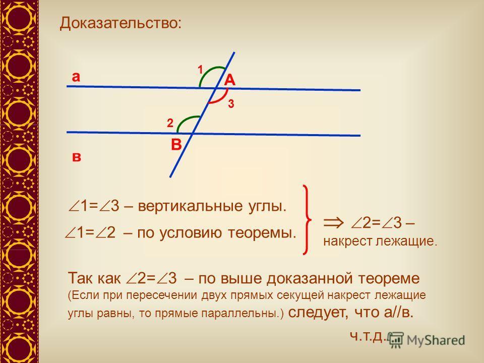 а в А В 1 2 Доказательство: 3 1= 3 – вертикальные углы. Так как 2= 3 – по выше доказанной теореме (Если при пересечении двух прямых секущей накрест лежащие углы равны, то прямые параллельны.) следует, что а//в. 1= 2 – по условию теоремы. 2= 3 – накре