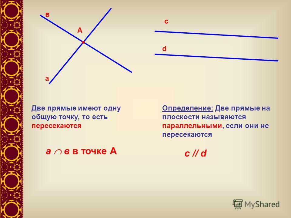 А а в Две прямые имеют одну общую точку, то есть пересекаются а в в точке А с d Определение: Две прямые на плоскости называются параллельными, если они не пересекаются с // d