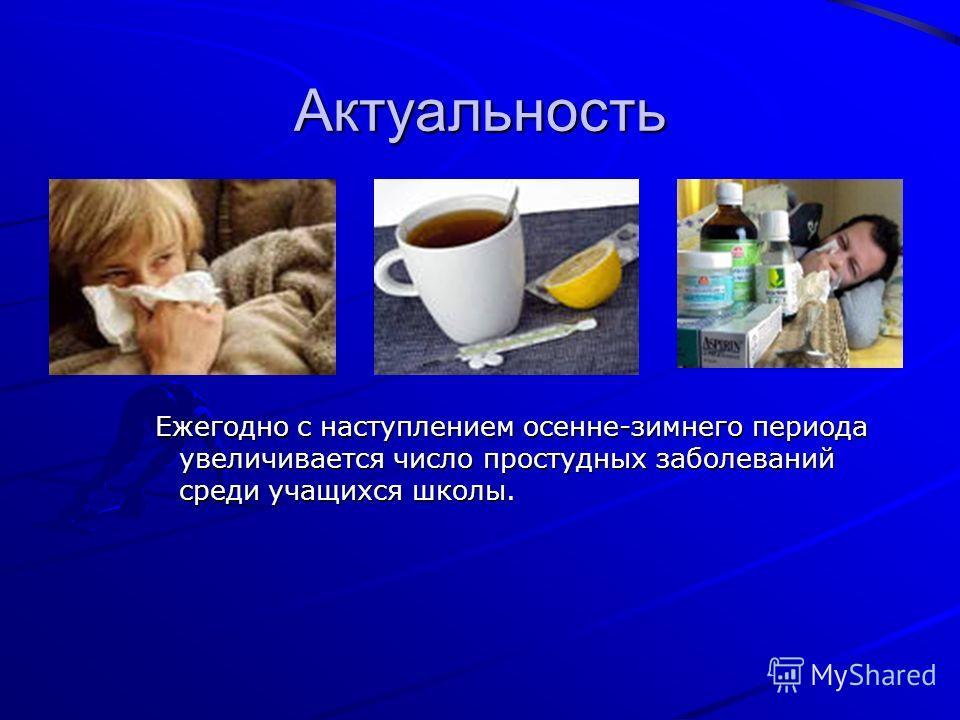 Актуальность Ежегодно с наступлением осенне-зимнего периода увеличивается число простудных заболеваний среди учащихся школы.