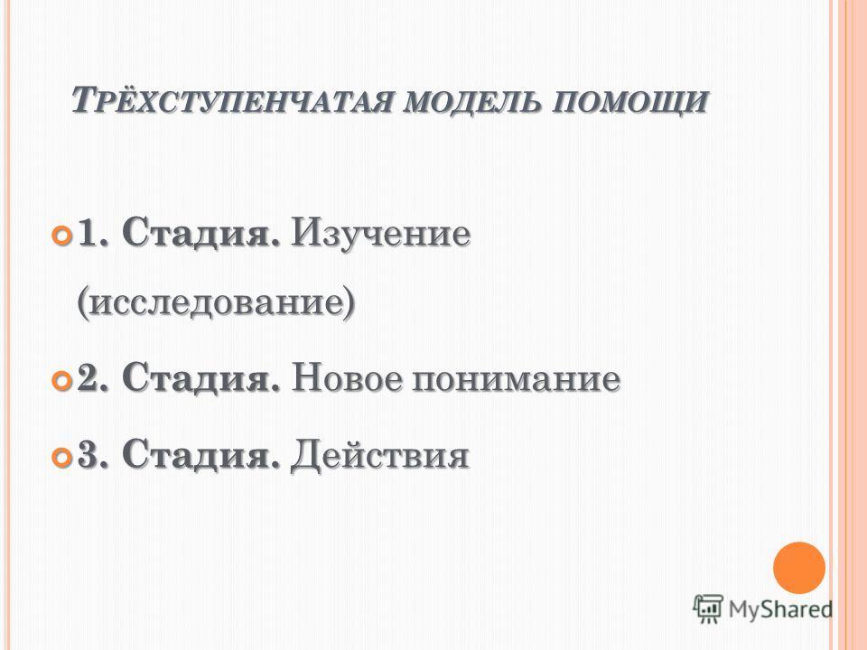 Т РЁХСТУПЕНЧАТАЯ МОДЕЛЬ ПОМОЩИ 1. Стадия. Изучение (исследование) 1. Стадия. Изучение (исследование) 2. Стадия. Новое понимание 2. Стадия. Новое понимание 3. Стадия. Действия 3. Стадия. Действия