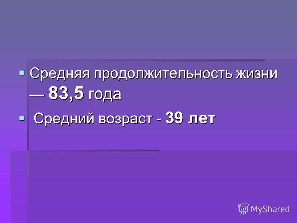 Средняя продолжительность жизни 83,5 года Средняя продолжительность жизни 83,5 года Средний возраст - 39 лет Средний возраст - 39 лет