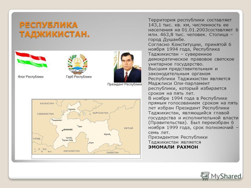 РЕСПУБЛИКА ТАДЖИКИСТАН. Территория республики составляет 143,1 тыс. кв. км, численность ее населения на 01.01.2003составляет 6 млн. 463,8 тыс. человек. Столица – город Душанбе. Согласно Конституции, принятой 6 ноября 1994 года, Республика Таджикистан