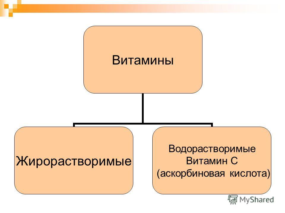 Витамины Жирорастворимые Водорастворимые Витамин С (аскорбиновая кислота)