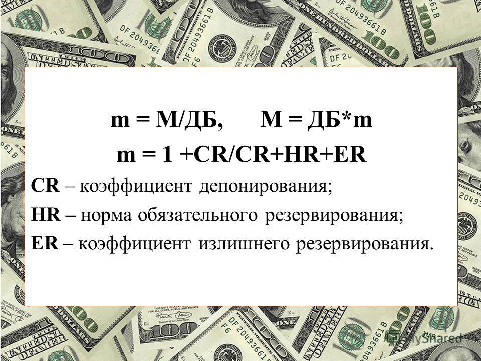 m = М/ДБ, М = ДБ*m m = 1 +CR/CR+HR+ER CR – коэффициент депонирования; HR – норма обязательного резервирования; ER – коэффициент излишнего резервирования.