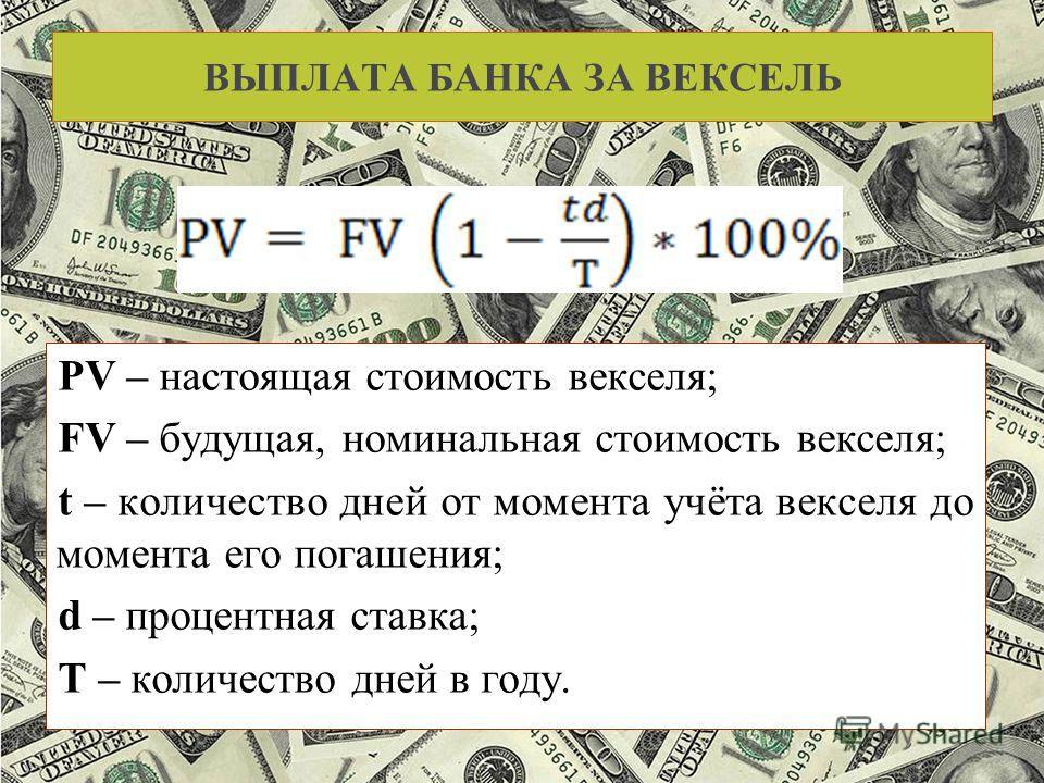 ВЫПЛАТА БАНКА ЗА ВЕКСЕЛЬ PV – настоящая стоимость векселя; FV – будущая, номинальная стоимость векселя; t – количество дней от момента учёта векселя до момента его погашения; d – процентная ставка; T – количество дней в году.