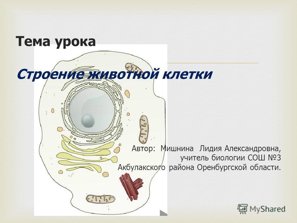 Тема урока Строение животной клетки Автор: Мишнина Лидия Александровна, учитель биологии СОШ 3 Акбулакского района Оренбургской области.