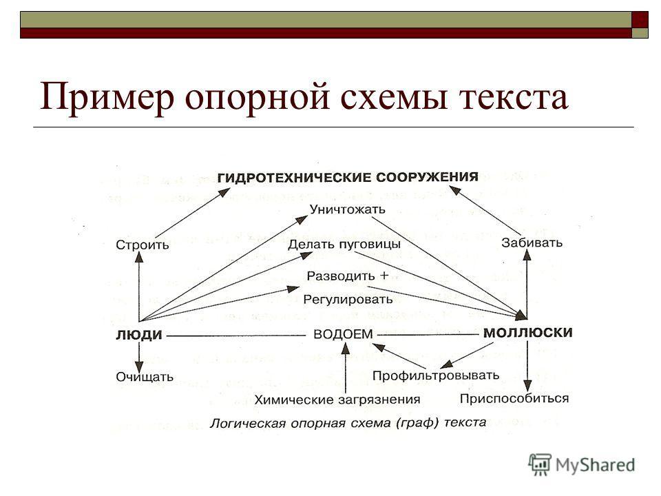 Пример опорной схемы текста