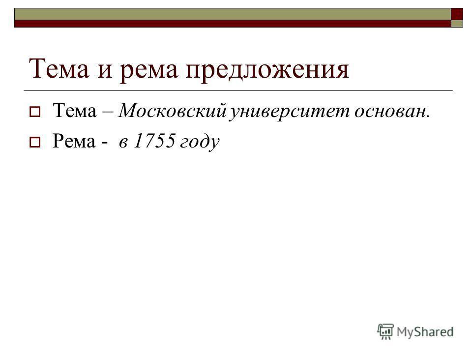 Тема и рема предложения Тема – Московский университет основан. Рема - в 1755 году
