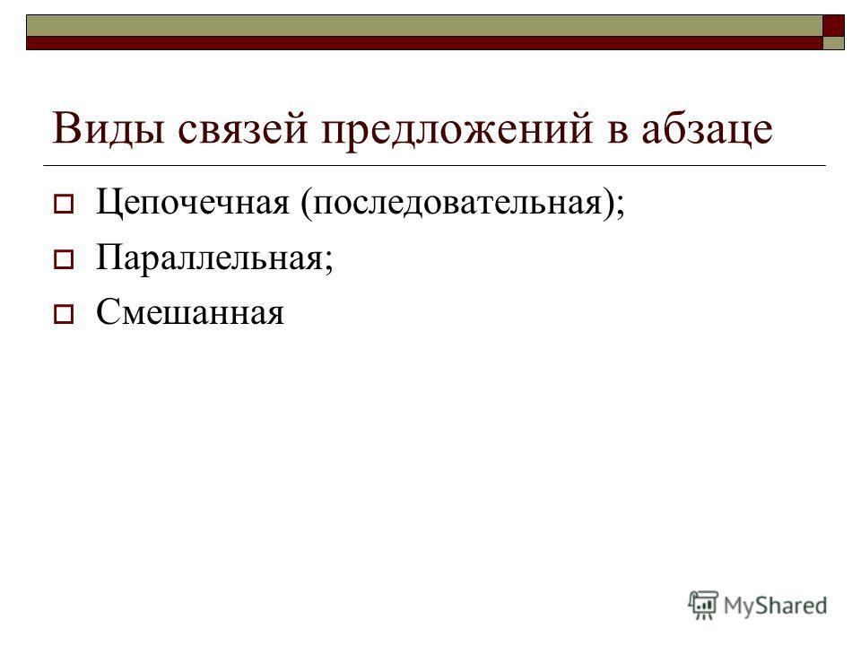 Виды связей предложений в абзаце Цепочечная (последовательная); Параллельная; Смешанная