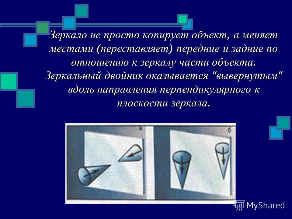 Зеркало не просто копирует объект, а меняет местами ( переставляет ) передние и задние по отношению к зеркалу части объекта. Зеркальный двойник оказывается  вывернутым  вдоль направления перпендикулярного к плоскости зеркала.
