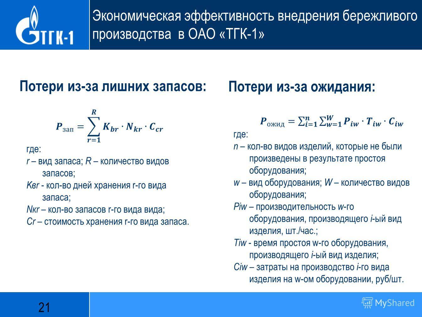 Экономическая эффективность внедрения бережливого производства в ОАО «ТГК-1» Потери из-за ожидания: Потери из-за лишних запасов: 21