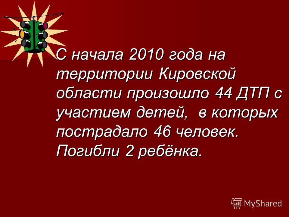 С начала 2010 года на территории Кировской области произошло 44 ДТП с участием детей, в которых пострадало 46 человек. Погибли 2 ребёнка. С начала 2010 года на территории Кировской области произошло 44 ДТП с участием детей, в которых пострадало 46 че