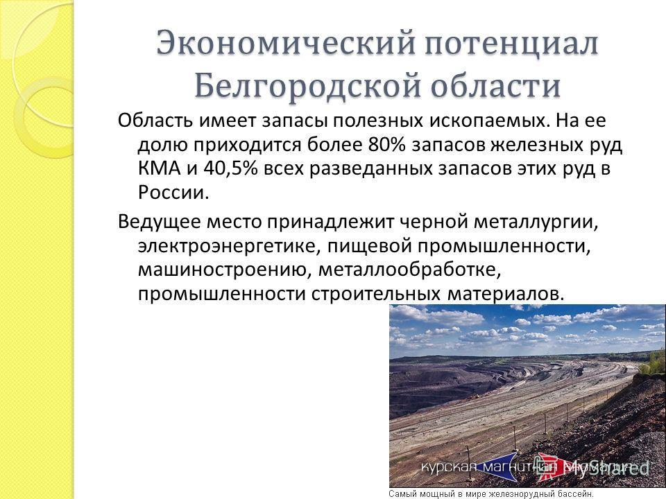Экономический потенциал Белгородской области Область имеет запасы полезных ископаемых. На ее долю приходится более 80% запасов железных руд КМА и 40,5% всех разведанных запасов этих руд в России. Ведущее место принадлежит черной металлургии, электроэ
