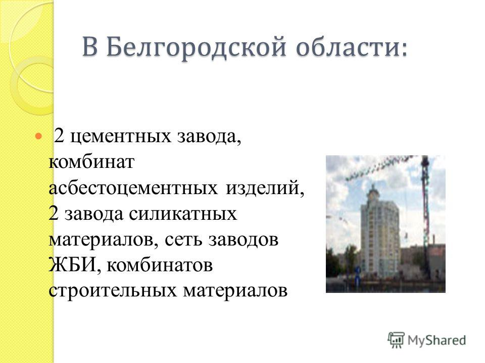 В Белгородской области : 2 цементных завода, комбинат асбестоцементных изделий, 2 завода силикатных материалов, сеть заводов ЖБИ, комбинатов строительных материалов