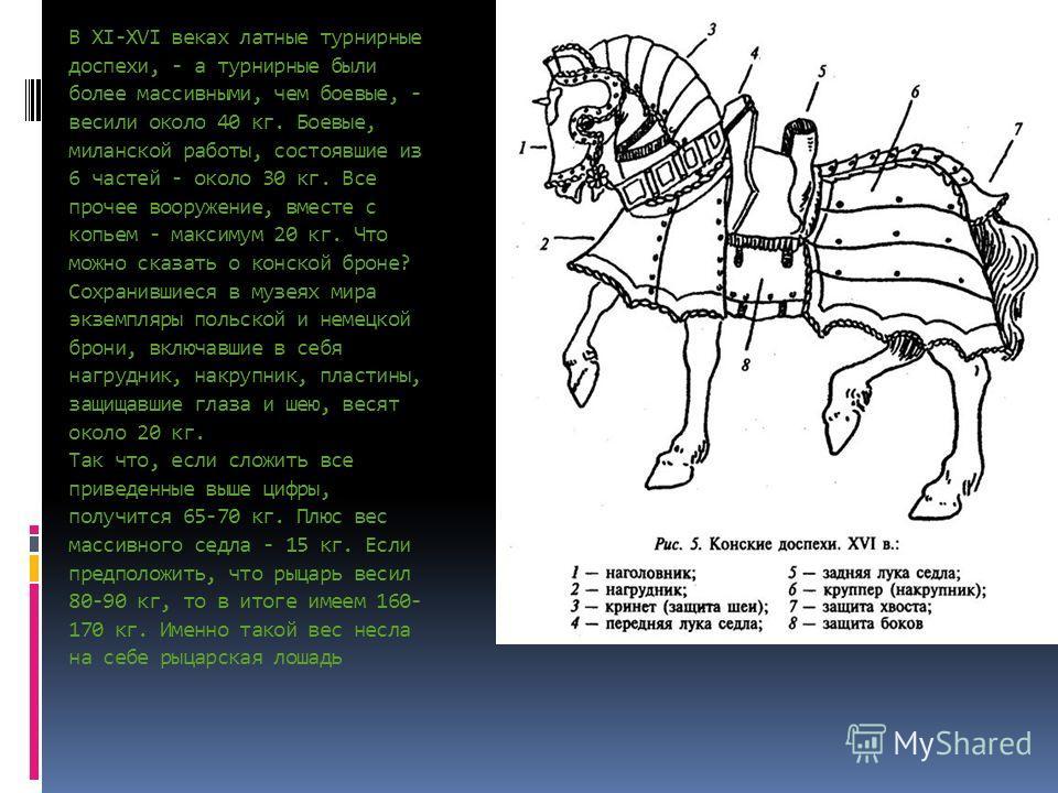 В XI-XVI веках латные турнирные доспехи, - а турнирные были более массивными, чем боевые, - весили около 40 кг. Боевые, миланской работы, состоявшие из 6 частей - около 30 кг. Все прочее вооружение, вместе с копьем - максимум 20 кг. Что можно сказать