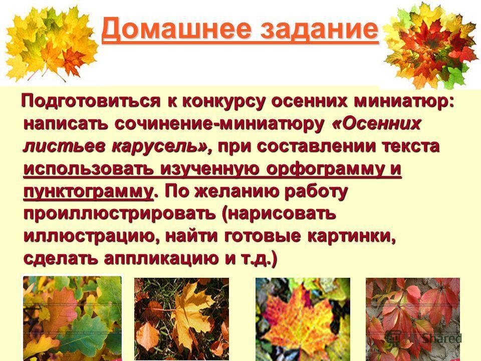 Домашнее задание Подготовиться к конкурсу осенних миниатюр: написать сочинение-миниатюру «Осенних листьев карусель», при составлении текста использовать изученную орфограмму и пунктограмму. По желанию работу проиллюстрировать (нарисовать иллюстрацию,