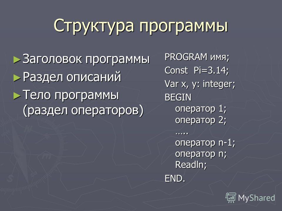 Структура программы Заголовок программы Заголовок программы Раздел описаний Раздел описаний Тело программы (раздел операторов) Тело программы (раздел операторов) PROGRAM имя; Const Pi=3.14; Var x, y: integer; BEGIN оператор 1; оператор 2; ….. операто