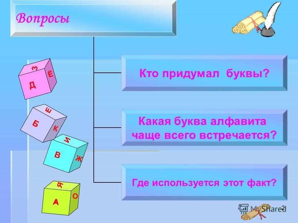 2 Д Ё З А А О Я Вопросы Кто придумал буквы? Какая буква алфавита чаще всего встречается? Где используется этот факт? В Ж И АБ Е К