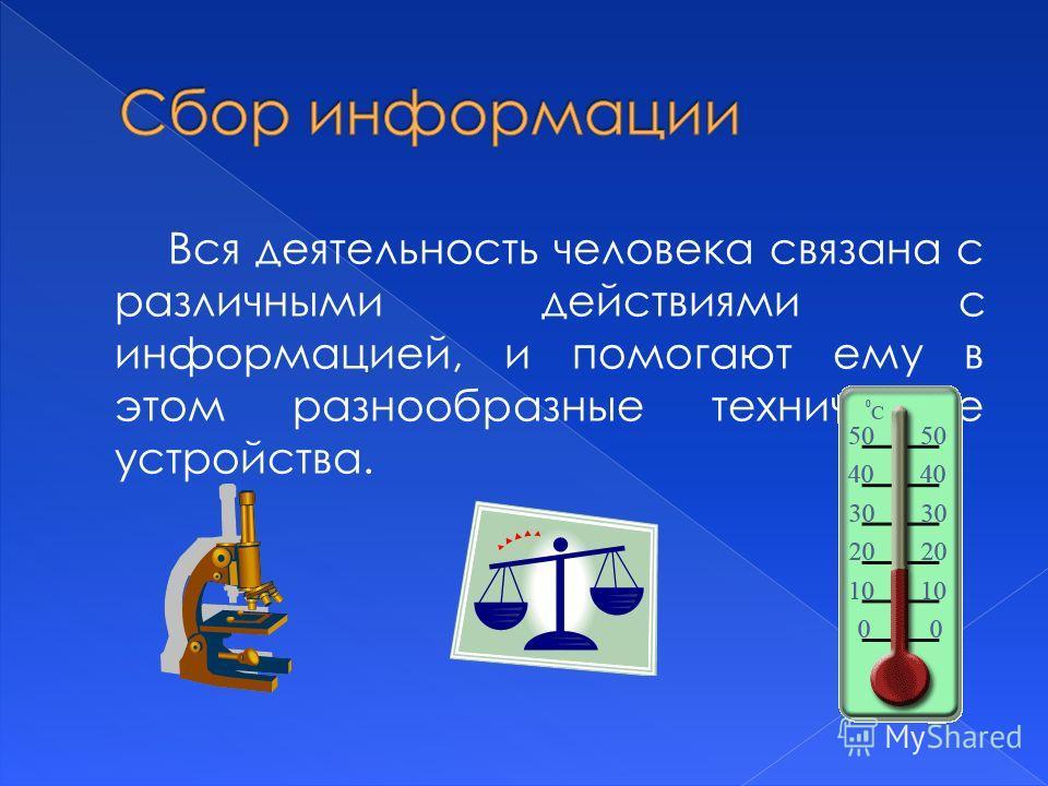 Вся деятельность человека связана с различными действиями с информацией, и помогают ему в этом разнообразные технические устройства.