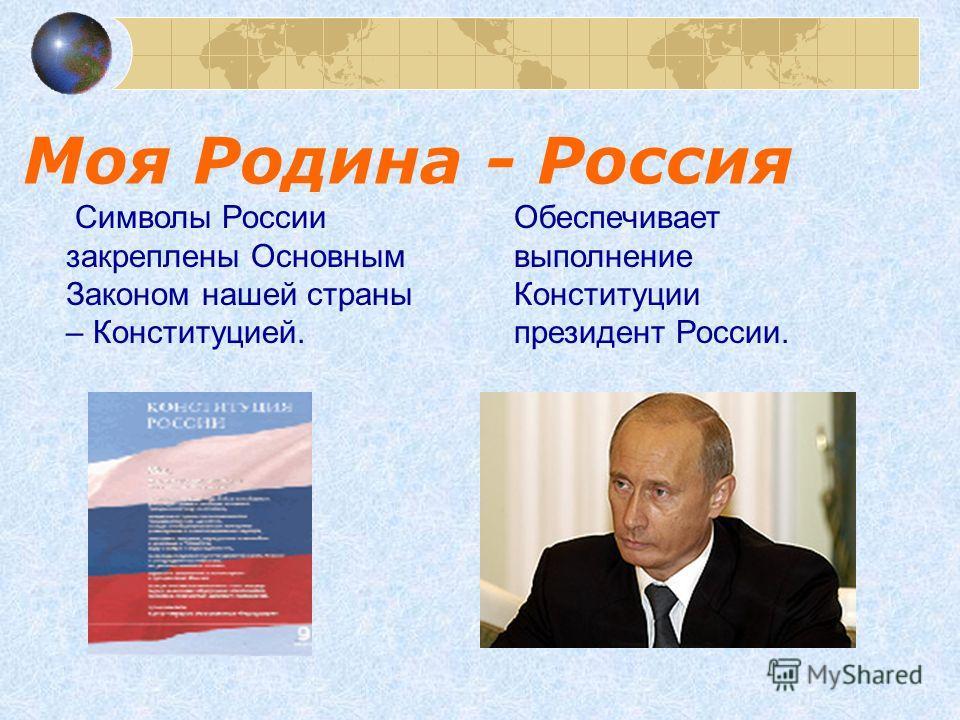 Моя Родина - Россия Символы России закреплены Основным Законом нашей страны – Конституцией. Обеспечивает выполнение Конституции президент России.