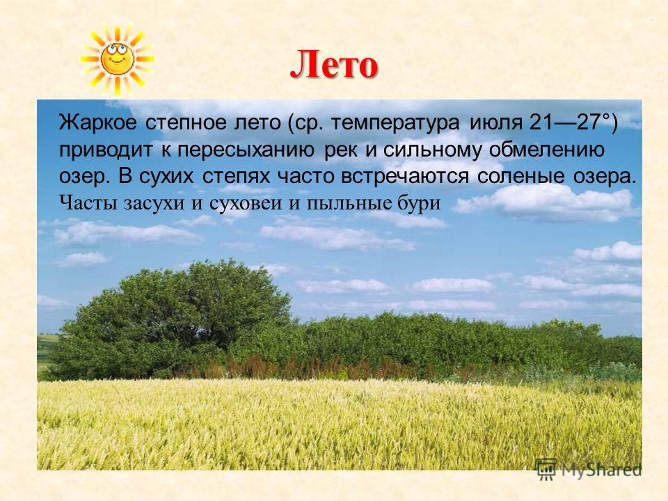 Лето Жаркое степное лето (ср. температура июля 2127°) приводит к пересыханию рек и сильному обмелению озер. В сухих степях часто встречаются соленые озера. Часты засухи и суховеи и пыльные бури