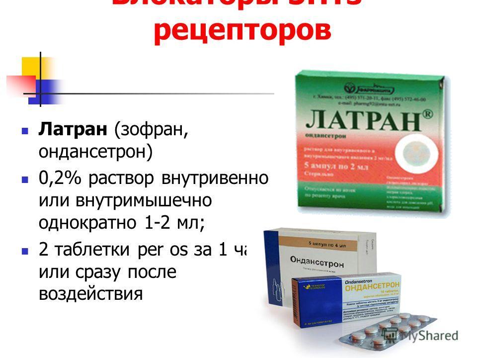 Блокаторы 5НТз- рецепторов Латран (зофран, ондансетрон) 0,2% раствор внутривенно или внутримышечно однократно 1-2 мл; 2 таблетки per os за 1 час или сразу после воздействия