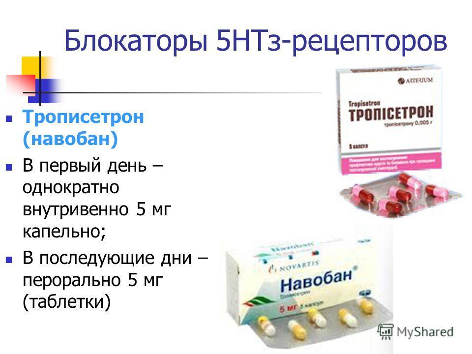 Блокаторы 5НТз-рецепторов Трописетрон (навобан) В первый день – однократно внутривенно 5 мг капельно; В последующие дни – перорально 5 мг (таблетки)