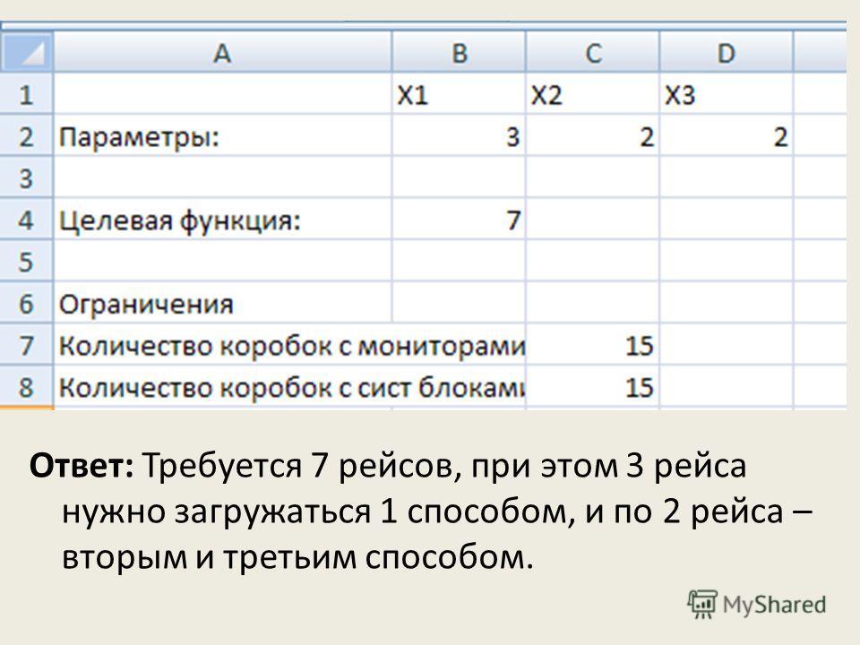 Ответ: Требуется 7 рейсов, при этом 3 рейса нужно загружаться 1 способом, и по 2 рейса – вторым и третьим способом.