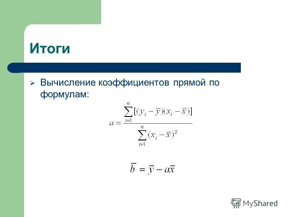 Итоги Вычисление коэффициентов прямой по формулам: