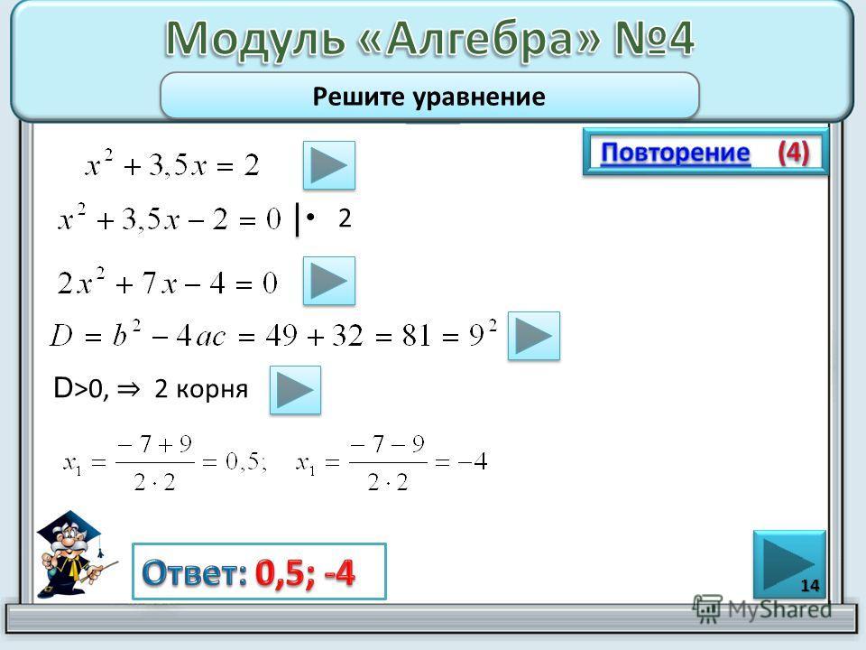 2 14 Решите уравнение D >0, 2 корня