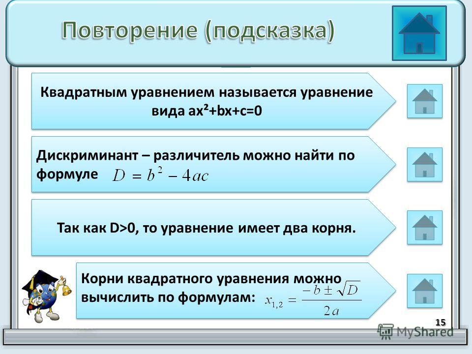15 Квадратным уравнением называется уравнение вида ax²+bx+c=0 Дискриминант – различитель можно найти по формуле Так как D>0, то уравнение имеет два корня. Корни квадратного уравнения можно вычислить по формулам: