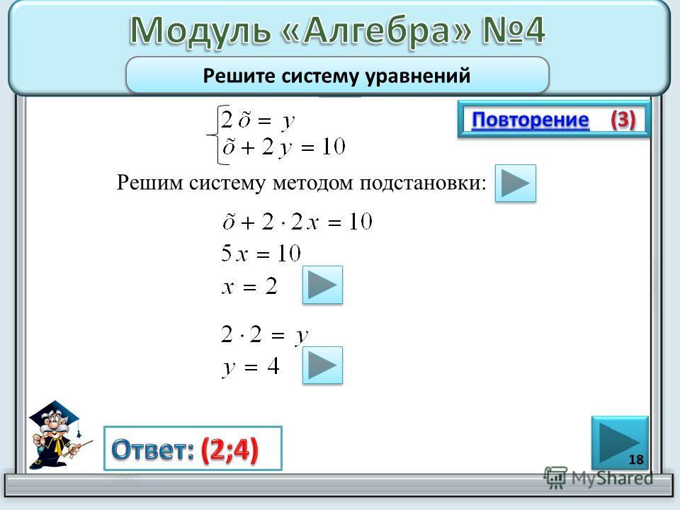 Решим систему методом подстановки: 18 Решите систему уравнений