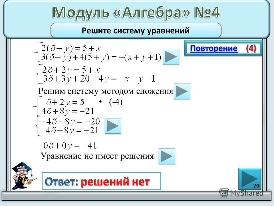 (-4) 20 Решите систему уравнений Решим систему методом сложения Уравнение не имеет решения