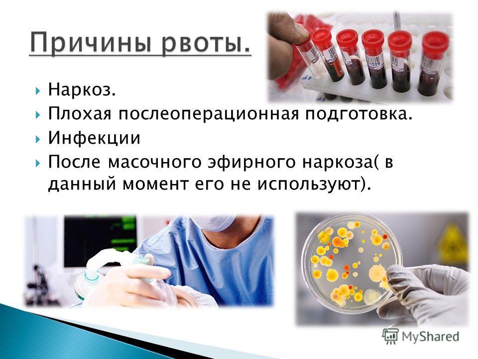 Наркоз. Плохая послеоперационная подготовка. Инфекции После масочного эфирного наркоза( в данный момент его не используют).
