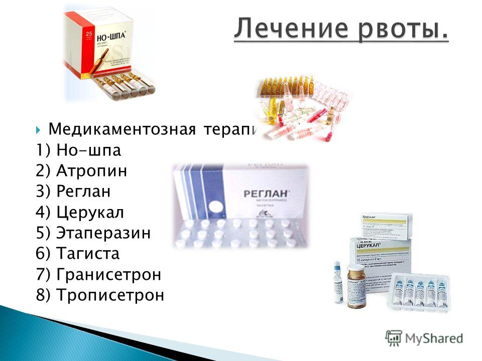 Медикаментозная терапия: 1) Но-шпа 2) Атропин 3) Реглан 4) Церукал 5) Этаперазин 6) Тагиста 7) Гранисетрон 8) Трописетрон