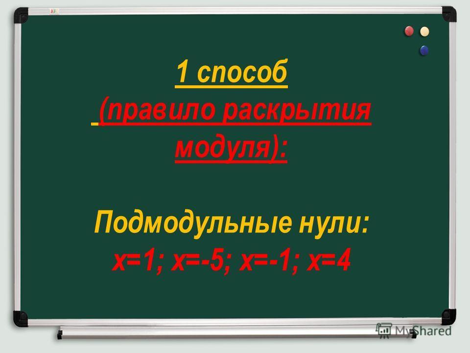 1 способ (правило раскрытия модуля): Подмодульные нули: х=1; х=-5; х=-1; х=4