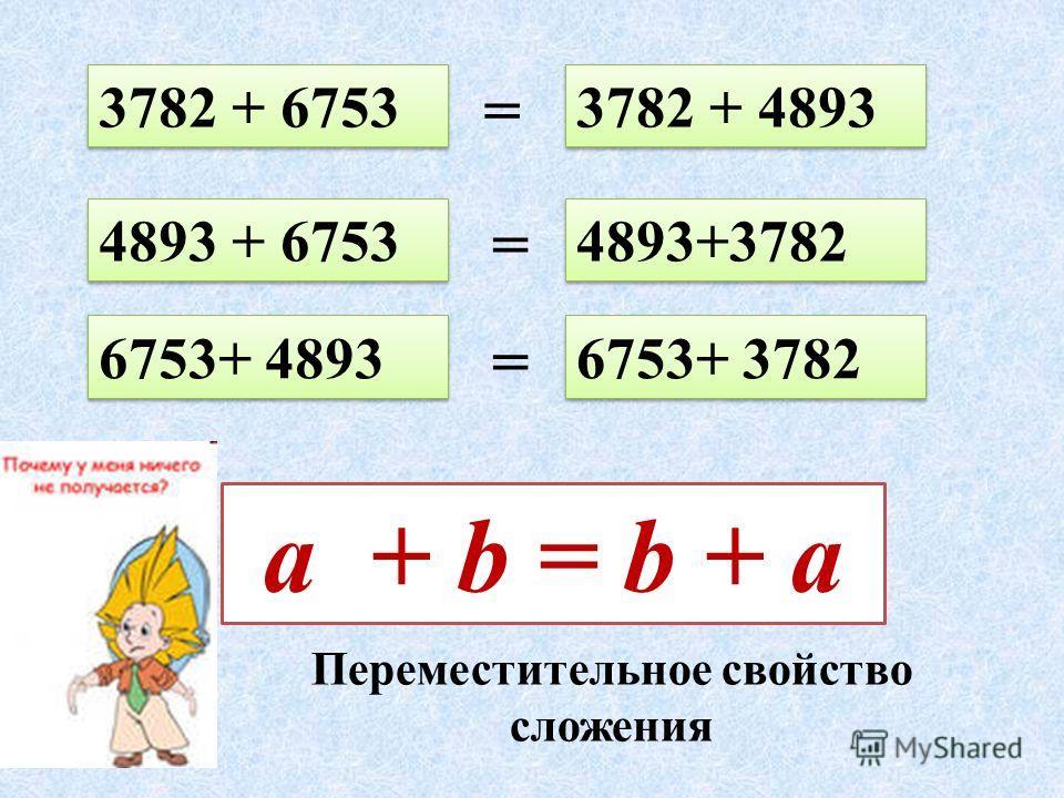 3782 + 6753 4893+3782 4893 + 6753 6753+ 4893 3782 + 4893 6753+ 3782 = = = a + b = b + a Переместительное свойство сложения