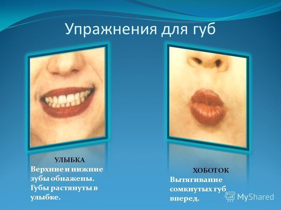 Упражнения для губ УЛЫБКА Верхние и нижние зубы обнажены. Губы растянуты в улыбке. ХОБОТОК Вытягивание сомкнутых губ вперед.