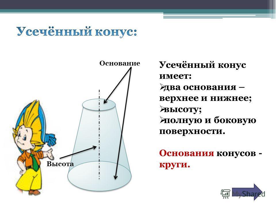 Высота Основание Усечённый конус имеет: два основания – верхнее и нижнее; высоту; полную и боковую поверхности. Основания конусов - круги.