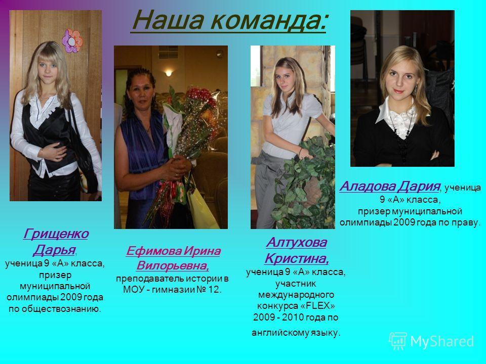 Наша команда: Грищенко Дарья, ученица 9 «А» класса, призер муниципальной олимпиады 2009 года по обществознанию. Аладова Дария, ученица 9 «А» класса, призер муниципальной олимпиады 2009 года по праву. Алтухова Кристина, ученица 9 «А» класса, участник
