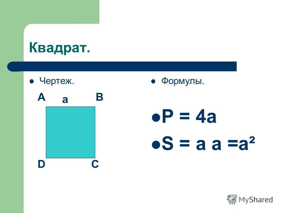 Квадрат. Чертеж. Формулы. P = 4a S = a a =a² AB CD a