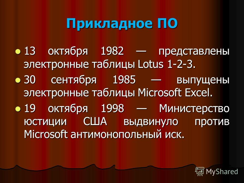 Прикладное ПО 13 октября 1982 представлены электронные таблицы Lotus 1-2-3. 13 октября 1982 представлены электронные таблицы Lotus 1-2-3. 30 сентября 1985 выпущены электронные таблицы Microsoft Excel. 30 сентября 1985 выпущены электронные таблицы Mic
