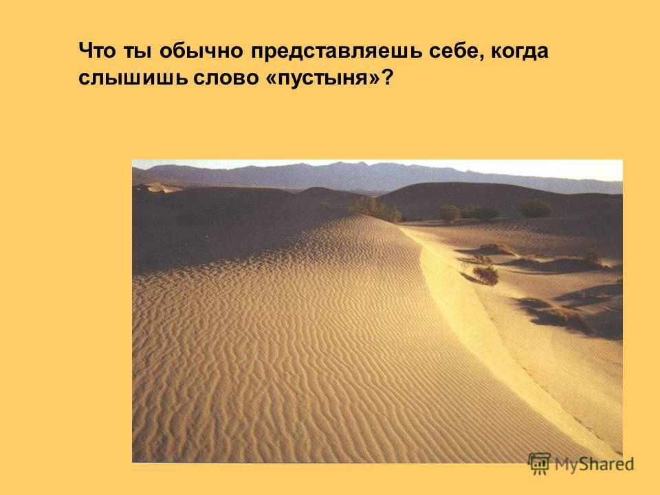 Что ты обычно представляешь себе, когда слышишь слово «пустыня»?