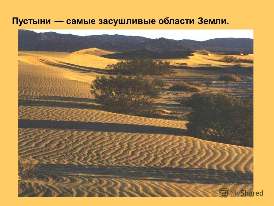 Пустыни самые засушливые области Земли.