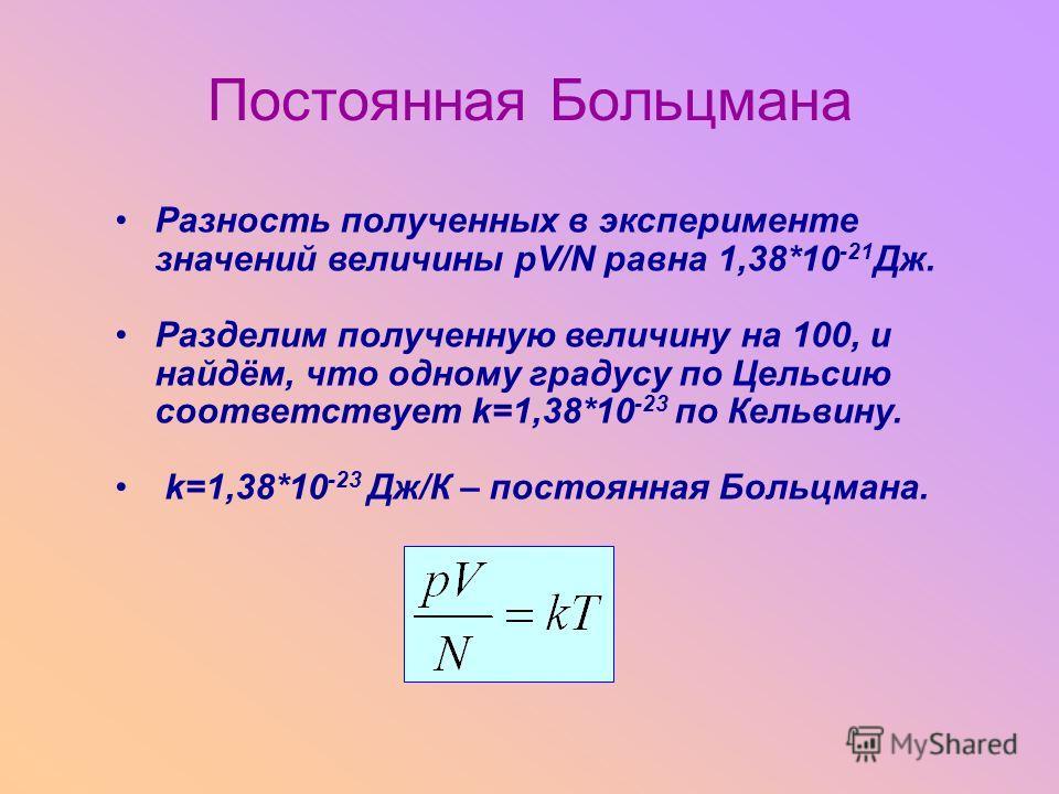 Разность полученных в эксперименте значений величины pV/N равна 1,38*10 -21 Дж. Разделим полученную величину на 100, и найдём, что одному градусу по Цельсию соответствует k=1,38*10 -23 по Кельвину. k=1,38*10 -23 Дж/К – постоянная Больцмана. Постоянна