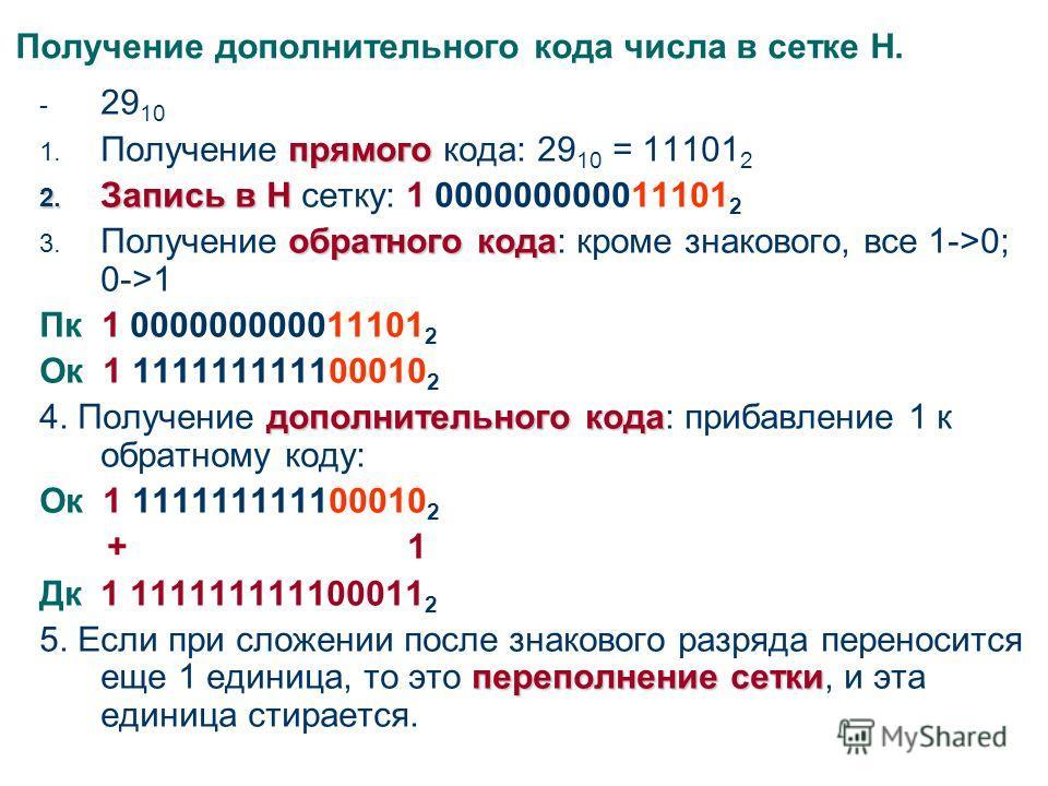 Получение дополнительного кода числа в сетке Н. - 29 10 прямого 1. Получение прямого кода: 29 10 = 11101 2 2. Запись в Н 2. Запись в Н сетку: 1 000000000011101 2 обратного кода 3. Получение обратного кода: кроме знакового, все 1->0; 0->1 Пк 1 0000000