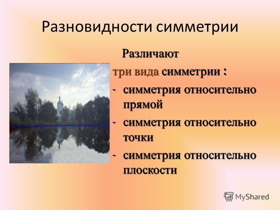 Разновидности симметрии Различают Различают три вида симметрии : - симметрия относительно прямой - симметрия относительно точки - симметрия относительно плоскости