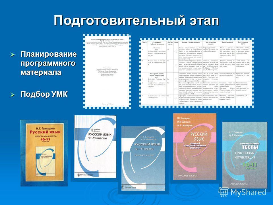 Подготовительный этап Планирование программного материала Планирование программного материала Подбор УМК Подбор УМК